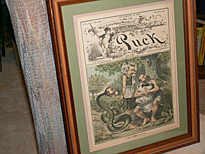 Framed 1883 Puck Magazine Tammany Cover