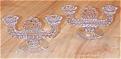 Pair Fostoria American Glass Double Candle Holders Candlesticks (Image1)