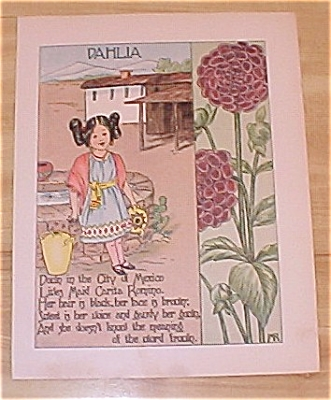 1905 Ida May Rockwell Antique Flower Babies Book Print Dahlia & Clover