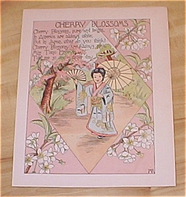 1905 Rockwell Flower Babies Book Print Cherry Blossoms & Autumn Leaves