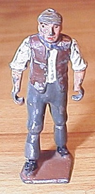 Collectible Old Britains England Lead Toy Train Figure Worker Laborer (Image1)