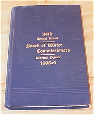 1898 Book Reading PA, 34th Annual Report Board of Water Commissioners (Image1)