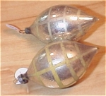Antique Silver & Yellow Line Glass Christmas Ornament