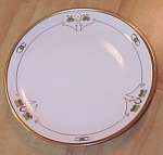 Click to view larger image of Lucky Pickard China Plate Hand Painted Wishbones, 4 Leaf Clovers (Image1)