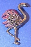 Click here to enlarge image and see more about item 1230: Vintage Unsigned Jewelry Pin Pink Flamingo Bird Rhinestones