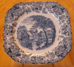 Click here to enlarge image and see more about item 1435: Vintage Johnson Brothers Mill Stream Salad Plates Blue & White Square