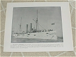 1898 Naval Ship Print, USS Marblehead, Stiletto, Spanish American War