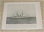 Click here to enlarge image and see more about item 160997: 1898 Naval Ship Antique Print, USS Chicago, USS Montgomery, U.S. Navy
