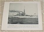 1898 Naval Ship Print USS Indiana, Forward Deck, Spanish American War