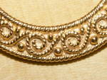 Click to view larger image of Vintage Signed Crown Trifari Pin Brooch Gold-tone Circle w/Curlicues (Image4)