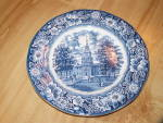 Click here to enlarge image and see more about item 1892: Liberty Blue China Independence Hall Dinner Plates, Staffordshire