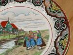 Click to view larger image of Antique Maestricht Souvenir Plate Holland Netherlands 3 Dutch Girls  (Image3)