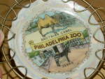Click to view larger image of Philadelphia Zoo Souvenir China Small Dish in Stand PA Camel Zebra (Image2)