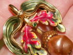 Click to view larger image of Joan Rivers Autumn Fall Acorn w/Leaves Pin Brooch Costume Jewelry (Image6)