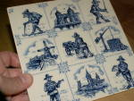 Click to view larger image of Villeroy & Boch Blue & White Pottery Ceramic Art Tile Trivet Plaque  (Image2)