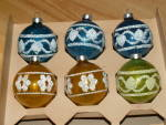 Click to view larger image of 6 Vintage U.S.A. Glass Christmas Balls, Multi-Color, Glitter, Hearts (Image2)