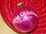 Click to view larger image of Vintage Shiny Brite Glass Tree Ornament Merry Christmas Ball  (Image3)