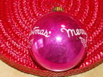 Click to view larger image of Vintage Shiny Brite Glass Tree Ornament Merry Christmas Ball  (Image4)
