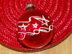 Click to view larger image of Vintage Made in U.S.A. Glass Christmas Tree Ornament Red Ball Stars (Image3)