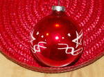 Click to view larger image of Vintage Made in U.S.A. Glass Christmas Tree Ornament Red Ball Stars (Image4)