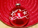 Click to view larger image of Vintage Made in U.S.A. Glass Christmas Tree Ornament Red Ball Stars (Image5)