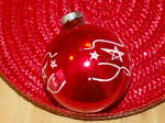 Click to view larger image of Vintage Made in U.S.A. Glass Christmas Tree Ornament Red Ball Stars (Image6)