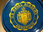 Click to view larger image of Vtg US Naval Academy Annapolis VA Navy Metal Beer Tray Seal Trident (Image2)