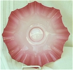 Click here to enlarge image and see more about item 23466: Victorian Large Pink Cased Glass Fluted Bowl for Basket