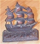 Click here to enlarge image and see more about item 23514: Single Old Heavy Cast Metal Clipper Ship Bookend or Doorstop