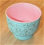 Click to view larger image of Vintage Maddux of California Pottery Vase Pink/Turquoise/Gold #107 (Image1)