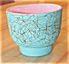 Click to view larger image of Vintage Maddux of California Pottery Vase Pink/Turquoise/Gold #107 (Image2)