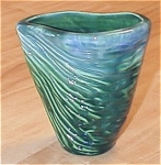 Click here to enlarge image and see more about item 23536: Nifty Blue & Green Ridged V-Shaped Pottery Vase