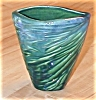 Click to view larger image of Nifty Blue & Green Ridged V-Shaped Pottery Vase (Image2)