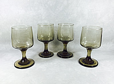 Set (4) Libbey Tawny Accent #3761 6 1/2 ounce Wine/Juice footed goblets (Image1)