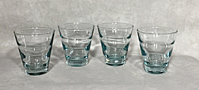 Libbey glass set 4 Aqua Ripple 6 oz. Juice glasses (Image1)