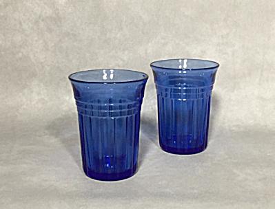 Hazel Atlas 2 cobalt glass Moderntone juice tumblers (Image1)