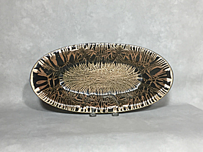 Harold Tischler Large Oval 12 Inch Gold Black Enamel On Copper Low Bowl