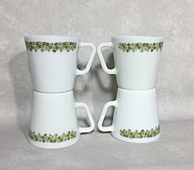 set of four 1972-1981 Spring Blossom #1410 9 ounce handled Gold coffee mugs (Image1)