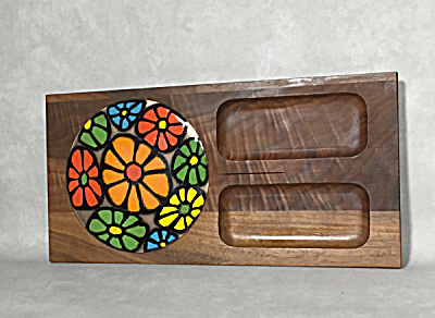 Ernest Sohn Creation Walnut And Enamel Mod Cheeseboard