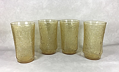 Anchor Hocking set 4 honey gold Pagoda hiball glasses (Image1)