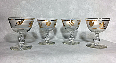 set 4 Libbey Golden Foliage cocktail goblets (Image1)