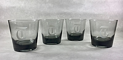 4 Midcentury smoke gray 3 1/4 inch rocks glasses with T Monogram (Image1)