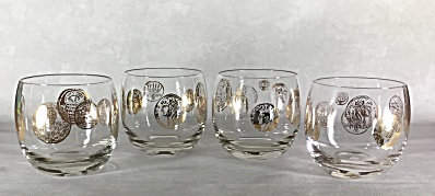 Set four Midcentury Gold Roman Coins 3 inch tall Roly Poly cocktail glasses (Image1)