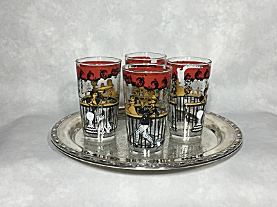 Vintage Hazel Atlas Gay Nineties set of four Saloon motif 5 1/8 inch glasses (Image1)