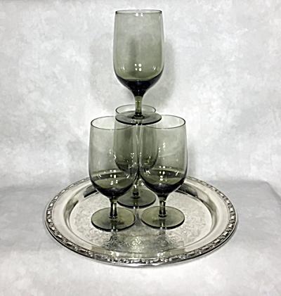 Noritake Viewpoint grey 1978-1983 set four 6 3/4 inch iced tea goblets (Image1)