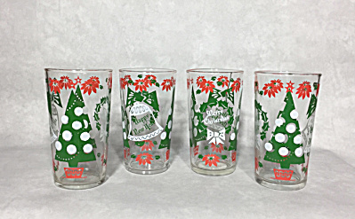 Set Of Four 5 1/4 Inch Tall Hiball Cocktail Glasses With Christmas Tree, Bells