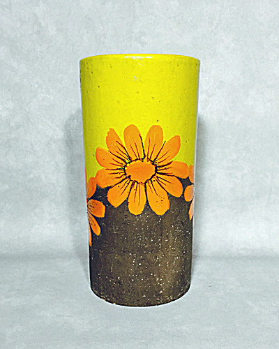 Bitossi Mid century yellow orange flower cylinder vase with label (Image1)