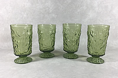 Anchor Hocking Lido Footed Avocado Green 4058 Juice Glasses