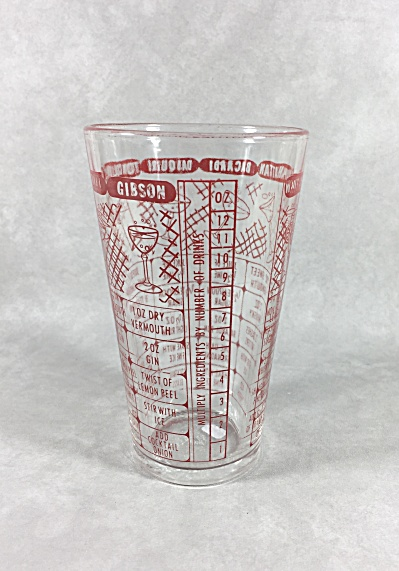 Federal Vintage Red Letters And Graphics 7 Recipe Midcentury Mixing Glass