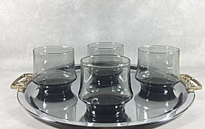 Set 4 Smoky Gray Vintage Midcentury Signed Libbey Impromptu Rocks Glasses